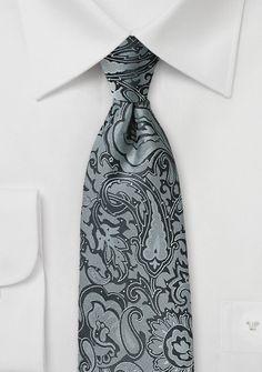 Markante Krawatte im Paisley-Look grau