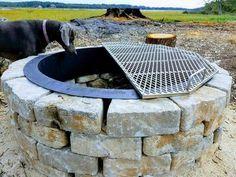 Fire Pit Grate, Diy Fire Pit, Fire Pit Backyard, Fire Pit Bbq, Fire Pit With Grill, Fire Pit For Cooking, Best Fire Pit, Fire Fire, Cool Fire Pits