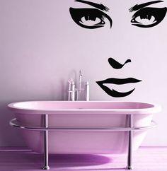 Wall Decals Vinyl Decal Sticker Mural Beauty Salon Decor Girl Face Make Up Kj151 #MuralArtDecals