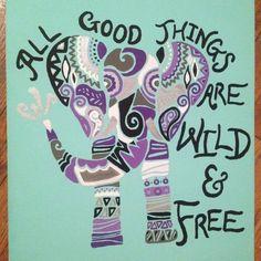 Tribal Elephant and Quote on Canvas - Acrylic Painting Canvas Crafts, Diy Canvas, Canvas Art, Canvas Ideas, Cute Crafts, Diy Crafts, Tribal Elephant, Elephant Canvas, Elephant Design