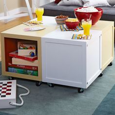 These DIY rolling cube tables can be separated so each child can have his or her personal workspace.
