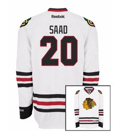 Chicago Blackhawks Mens Brandon Saad Premier Road Jersey with DOUBLE LAYERED PRO TACKLE-TWILL LETTERING