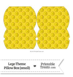 Small Yellow Lego Theme Pillow Box from PrintableTreats.com