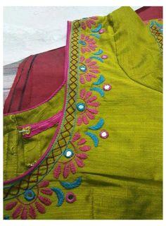 Hand Embroidery Dress, Kurti Embroidery Design, Embroidery Neck Designs, Tambour Embroidery, Cutwork Blouse Designs, Simple Blouse Designs, Blouse Neck Designs, Hand Work Blouse Design, Hand Work Design