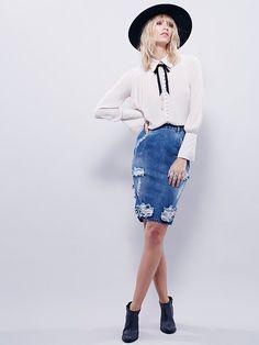 SIZE 25 - One Teaspoon Denim Skirt at Free People - coolest denim skirt