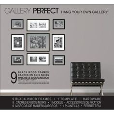 9 Piece Wood Matted Picture Frame Set by Zipcode Design Picture Frame Hangers, Picture Frame Display, Black Picture Frames, Picture Frame Sets, Picture On Wood, Picture Wall, Photo Wall, Black Frames, Frame Layout