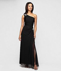 Alex Evenings 132612 Mesh Long One Shoulder Dress with Beaded Detail at Hip for $178.00