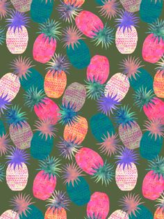 "Psychedelic colored pineapples - ""Pina Colada"" print by Schatzi Brown"