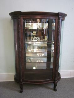 SOLD. Vintage Victorian curved glass mahogany china cabinet, circa ...
