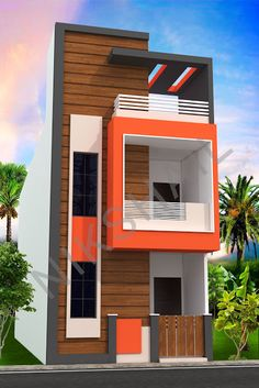 Indian house design, small house design, house plan with elevation, Nikshail House Design Modern Exterior House Designs, Narrow House Designs, Modern Small House Design, Small House Exteriors, House Outer Design, House Front Wall Design, Village House Design, 3 Storey House Design, Bungalow House Design