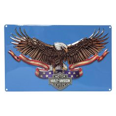 Harley Davidson Eagle Banner Embossed Sign - Ande Rooney Harley Davidson Embossed Tin Sign Collection utilizes lithographed on tin process, this makes for a more detailed and inticate sign. The result
