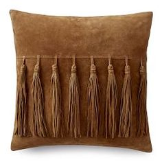 Suede tassel pillow, a feminine yet masculine idea for a sitting room chair or o. Suede tassel pillow, a feminine yet masculine idea for a sitting room chair or office. Leather Throw Pillows, Leather Pillow, Leather Art, Diy Pillows, Accent Pillows, Leather Cushions, Custom Cushions, Decorative Pillow Covers, Decorative Throw Pillows