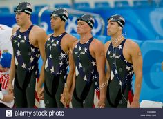 Download this stock image: USA 2X200m World Record relay team R-L Michael Phelps, Ryan Lochte, Ricky Berens, Peter Vanderkaay, - C3AW8G from Alamy's library of millions of high resolution stock photos, illustrations and vectors.