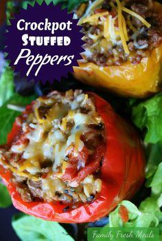 Crockpot Stuffed Bell Peppers (w/ optional vegetarian version) - Family Fresh Meals