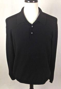 BROOKS BROTHERS Sweater XL Black MERINO  Wool Long Sleeve Mens #BrooksBrothers #Polo