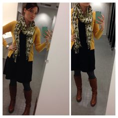 Ootd black dress, grey tights, brown boots. Comfy, warm winter dress outfit.