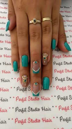 Cute Nail Designs For Spring – Your Beautiful Nails Fancy Nails, Love Nails, How To Do Nails, Teal Nails, Ombre Nail, Style Nails, Green Nails, Black Nails, Matte Nails