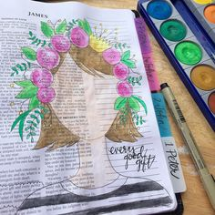 Thanks to @magmagandme for the inspiration! What an awesome day to sit outside and read and paint! Just a reminder that everyone is a perfect gift from above! James 1:17 #illustratedfaith #biblejournals #biblejournaling by kklindsey