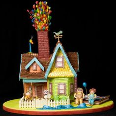 This house, created by Skyla D. of Asheville, NC, is based on the movie Up and earned the first place prize in the teen division of the 2010 National Gingerbread Competition. Each character was sculpted from fondant and gum paste. The colorful balloons are pieces of spaghetti topped with jelly beans. | Photo: Wright Creative | thisoldhouse.com