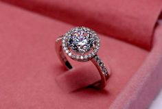 Silver Plated Women's Zircon Crystal Ring Size 8