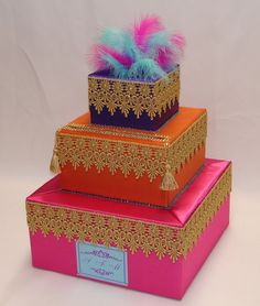 Moroccan Theme card box any color scheme by ExoticWeddingBoxes, $98.00