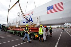 Special holiday delivery of Wing 2 for the AC72 from New Zealand for ORACLE TEAM USA. Photo: Ivor Wilkins