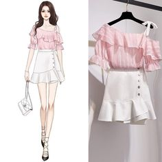 Kpop Fashion Outfits, Girls Fashion Clothes, Cute Fashion, Girl Fashion, Girl Outfits, Grunge Outfits, Kpop Clothes, Korea Fashion, Japan Fashion