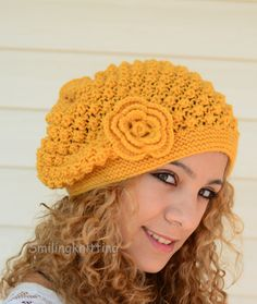 Hand Knitted Hat Slouchy Hat Beret Mustard by SmilingKnitting, $29.00