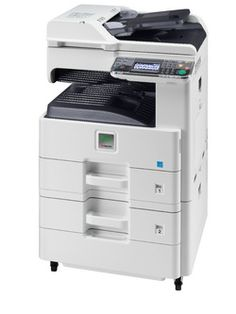 -Up to 25/12 pages A4/A3 per minute  -Time to first copy: 9.2 seconds or less  -Professional print, copy, color scan and fax functionality  -Paper capacity up to 1,600 sheets and a range of paper-handling options  -Easy to install and operate  -Easy to use wizard-style navigation with full-color touch panel  -Low noise emissions, 0.9 W low power in sleep-mode  -Long-life components provide unprecedented efficiency and reliability  -HyPAS™solution platform enables powerful customizations