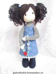 Купить Кукла СЕЛЕНА - текстильная кукла, ручная работа, хэндмейд, сьюзен вулкотт, синий, подарок