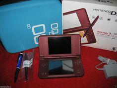 Nintendo DSi XL Burgandy Handheld System NDS DSI DS console Bundle Traveling Cas #Nintendo