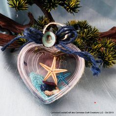 Beach ornament heart filled with starfish by CarmelasCoastalCraft, $5.25