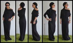 Maxi Dress / Black Kaftan Viscose Dress / Off Shoulder Dress / Extravagant Long Dress / Casual Dress by ClothesByLockerRoom on Etsy https://www.etsy.com/uk/listing/255226242/maxi-dress-black-kaftan-viscose-dress