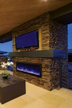 Amantii Panorama x 16 Frameless Built-in Outdoor Electric Fireplace w/ Cover, 12 Deep, Multicolor Flame, Optional Heat, Remote Control wide and deep – The Panorama Series o Outdoor Rooms, Indoor Outdoor, Outdoor Living, Outdoor Kitchens, Built In Electric Fireplace, Electric Fireplaces, Casa Top, Outdoor Kitchen Design, Kitchen Modern