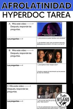 This Hyperdoc assignment teaches heritage Spanish speaker students about the Afrolatino community by watching videos of Afrolatinos sharing their experiences. This would also be appropriate for students Spanish 4 or Spanish 5. There are eight videos embedded in the doc and students type their answers to the questions directly into the Google Doc. #heritagespeakers #blackhistory #afrolatino High School Spanish, Spanish Teacher, Spanish Classroom, Teaching Spanish, Spanish Games, Ap Spanish, Spanish Projects, Class Activities, Spanish Language