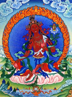 "ARYA TARA ZHEN MIGYALWA'I PAMO: ""Homage, TURE, terrible lady, who annihilates the warriors of Mara, slaying all enemies with a frown of wrath on her lotus face."""
