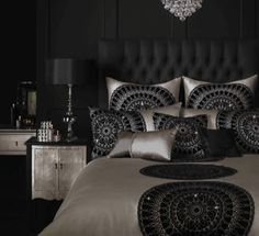 Kylie Minogue at home Bedroom Themes, Bedroom Sets, Bedroom Decor, Dream Rooms, Dream Bedroom, Black And Silver Bedroom, Kylie Minogue At Home, My New Room, Beautiful Bedrooms
