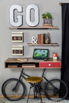 Use leather, metal and wood to create a masculine home office for the trendy man in your life!