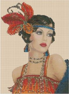 All our KITS include everything you need to embroider the perfect picture. Art Deco Lady in Orange Red Dress. Art Deco Series No. Cross Stitch Art, Cross Stitch Designs, Cross Stitching, Cross Stitch Embroidery, Cross Stitch Patterns, Look Vintage, Vintage Art, Art Deco Cards, Retro