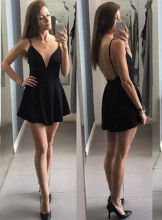 Charming Prom Dress,Black Prom Gown,Sexy Mini Prom Party