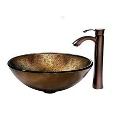 @Overstock - This gorgeous light copper colored glass vessel sink by Vigo is matched with a statuesque, oil rubbed bronze faucet with a single top lever.  The faucet has a solid brass construction and the sink has a scratch-resistant finish for durability.http://www.overstock.com/Home-Garden/Vigo-Liquid-Copper-Glass-Vessel-Sink-and-Bronze-Faucet/5700762/product.html?CID=214117 Add to cart to see special price