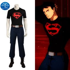 MANLUYUNXIAO New Men's Costume Young Justice Superboy Cosplay Costume For Men Carnival Halloween Cosplay Costume Custom Made
