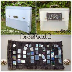 """decoriciclo: Riciclando per la scuola: la cartelletta/valigetta per """"Arte&Immagine"""", con mosaico di cd"""