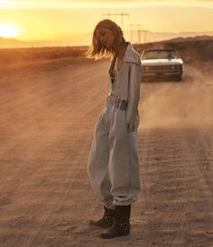 Anja Rubik Takes On Western Inspired Fashions for WSJ. Magazine