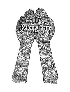 """This intricate illustration of hands adorned with henna was inspired by the traditions of India. The hands, cupped as if they were holding something precious, carry the phrase """"Rescue Them"""" to portray exactly what your purchase of this design will accomplish. Help set captives free and restore the lives of human trafficking survivors in India. #Sevenly for Freedom Firm ❤️"""