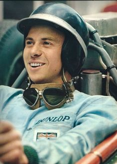 Jim Clark in early helmet and goggles
