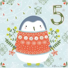 Flora Waycott Christmas Advent DAY 5 - A cuddly penguin in a Nordic jumper trying to keep warm! x