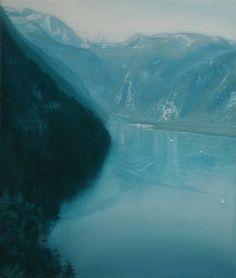"Saatchi Art Artist Alexander Heaton; Painting, ""Morning haze over lake Konigsee and St Bartholoma Monastery"" #art"