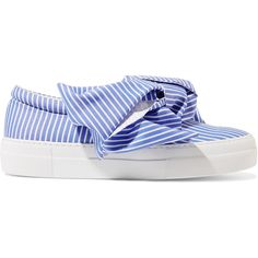 Joshua Sanders Knotted striped cotton-poplin slip-on sneakers ($335) ❤ liked on Polyvore featuring shoes, sneakers, blue, shiny shoes, pastel shoes, slip on shoes, neon shoes and neon sneakers