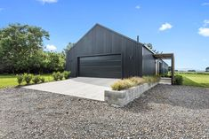40 Modern Garage Ideas - A garage is often the most disorganized section of a household. This is because a garage is not just the resting place of automobiles. Most garages ar. Modern Barn House, Modern Shed, Modern Garage, Barn House Plans, Barn Plans, Metal Building Homes, Building A House, Barn House Conversion, Barn Conversions